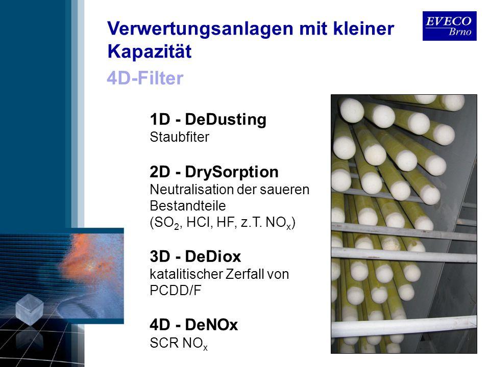 4D-Filter 1D - DeDusting Staubfiter 2D - DrySorption Neutralisation der saueren Bestandteile (SO 2, HCl, HF, z.T. NO x ) 3D - DeDiox katalitischer Zer