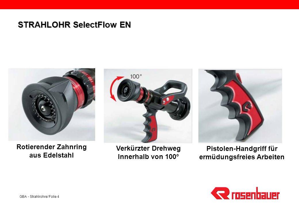 GBA - Strahlrohre/ Folie 4 Rotierender Zahnring aus Edelstahl Verkürzter Drehweg Innerhalb von 100° Pistolen-Handgriff für ermüdungsfreies Arbeiten ST