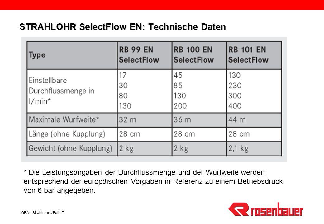 GBA - Strahlrohre/ Folie 7 STRAHLOHR SelectFlow EN: Technische Daten * Die Leistungsangaben der Durchflussmenge und der Wurfweite werden entsprechend