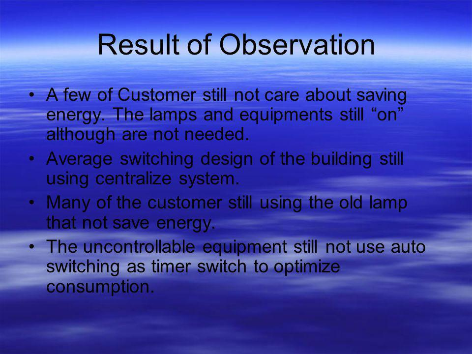 Result of Observation A few of Customer still not care about saving energy.