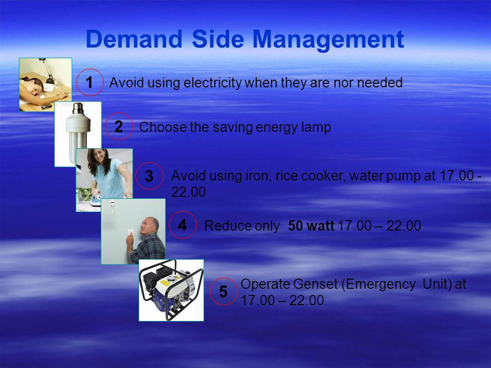 Demand Side Management Avoid using electricity when they are nor needed Choose the saving energy lamp Avoid using iron, rice cooker, water pump at 17.