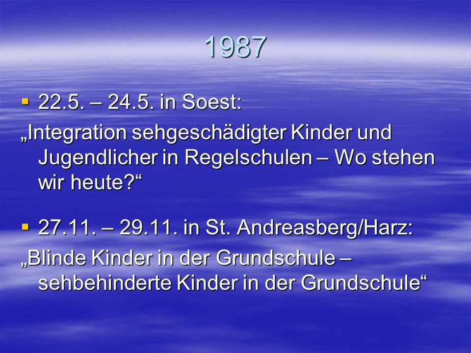 """1986  2.5. – 4.5. in Unterschleißheim: """"Möglichkeiten der Kooperation zwischen Eltern blinder und sehbehinderter Kinder und Jugendlicher und Beratung"""