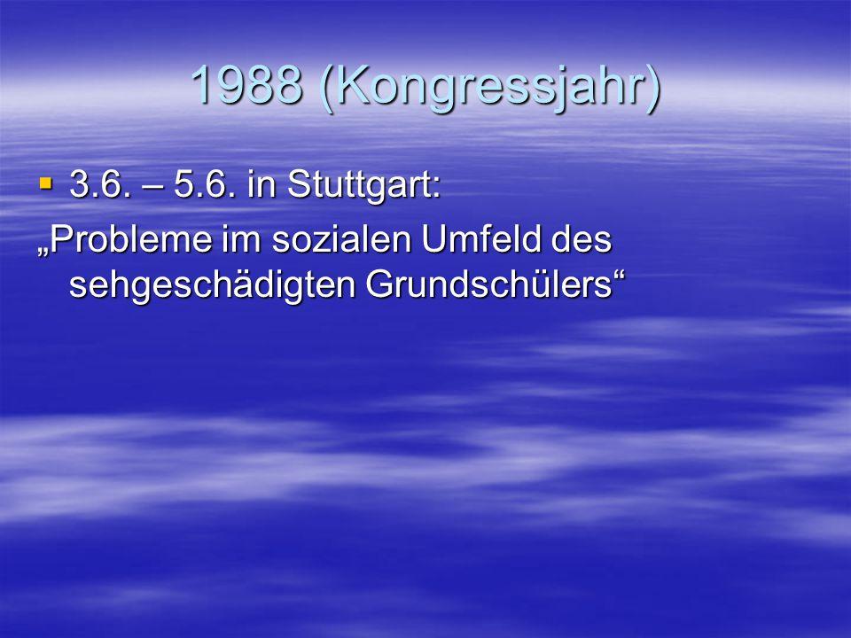 """1987  22.5. – 24.5. in Soest: """"Integration sehgeschädigter Kinder und Jugendlicher in Regelschulen – Wo stehen wir heute?""""  27.11. – 29.11. in St. A"""