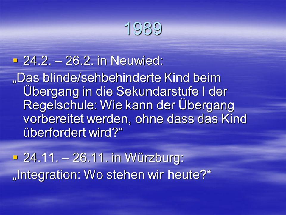 """1988 (Kongressjahr)  3.6. – 5.6. in Stuttgart: """"Probleme im sozialen Umfeld des sehgeschädigten Grundschülers"""""""