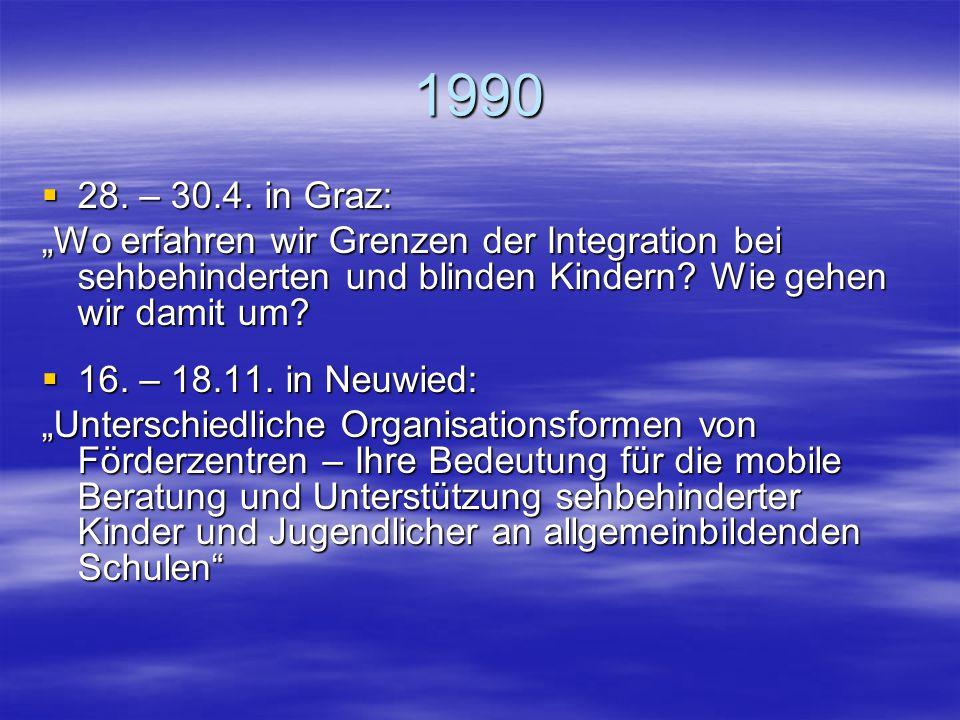"1989  24.2. – 26.2. in Neuwied: ""Das blinde/sehbehinderte Kind beim Übergang in die Sekundarstufe I der Regelschule: Wie kann der Übergang vorbereite"