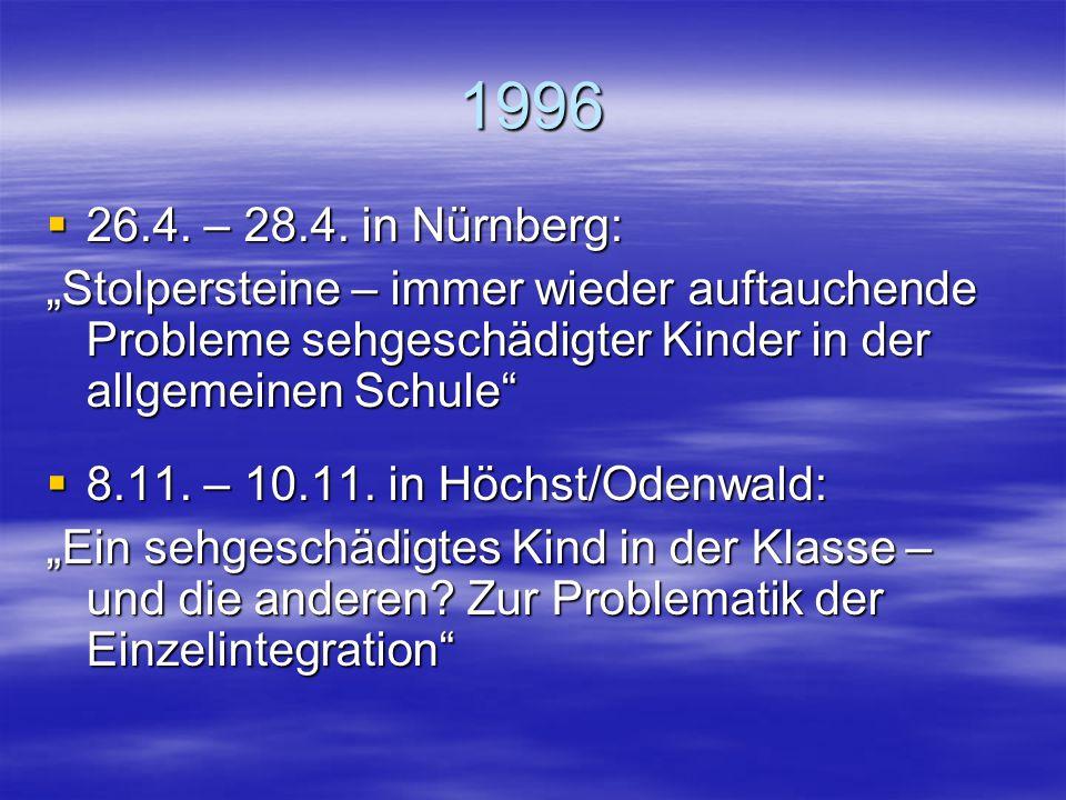 """1995  12.5. – 14.5. in Aachen: """"Hier steh' ich nun – ich kann nicht mehr: Wer hilft wann? Wo? Wie? Einsatz von Integrationshelfern, Hilfen zur Selbst"""