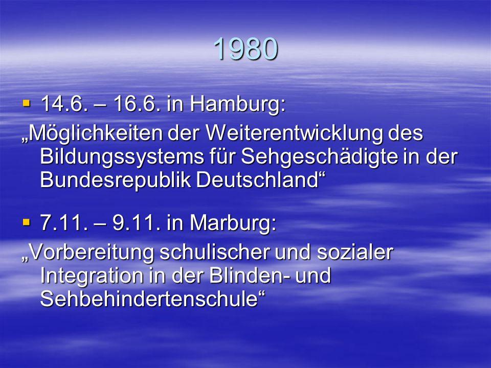 1979  24.11. – 25.11. in Rimpar bei Würzburg Konstituierende Sitzung der AG Integration mit 40 Teilnehmerinnen und Teilnehmern aus drei Ländern Wahl