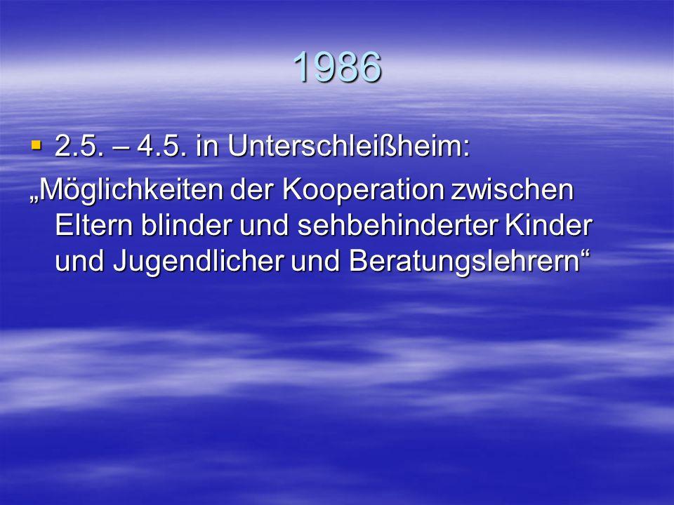 """1985  26.4. – 28.4. in Rendsburg und Schleswig: """"Planung individueller Erziehungs- und Bildungsprozesse sehgeschädigter Schüler""""  29.11. – 1.12. in"""