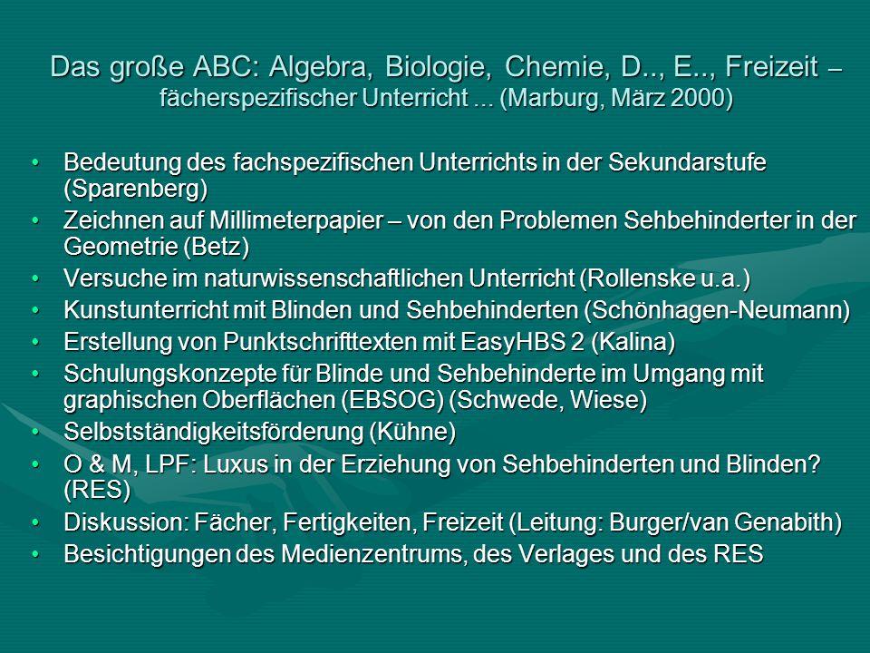 Das große ABC: Algebra, Biologie, Chemie, D.., E.., Freizeit – fächerspezifischer Unterricht...