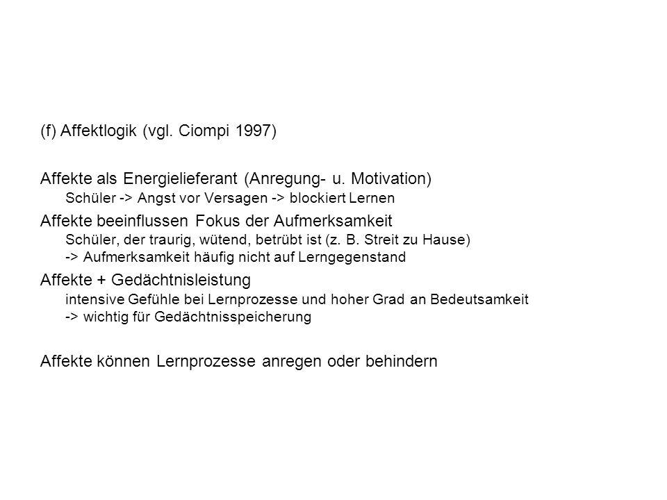 (f) Affektlogik (vgl.Ciompi 1997) Affekte als Energielieferant (Anregung- u.