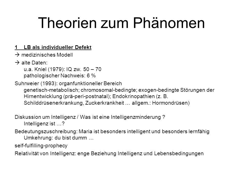 Theorien zum Phänomen 1LB als individueller Defekt  medizinisches Modell  alte Daten: u.a.