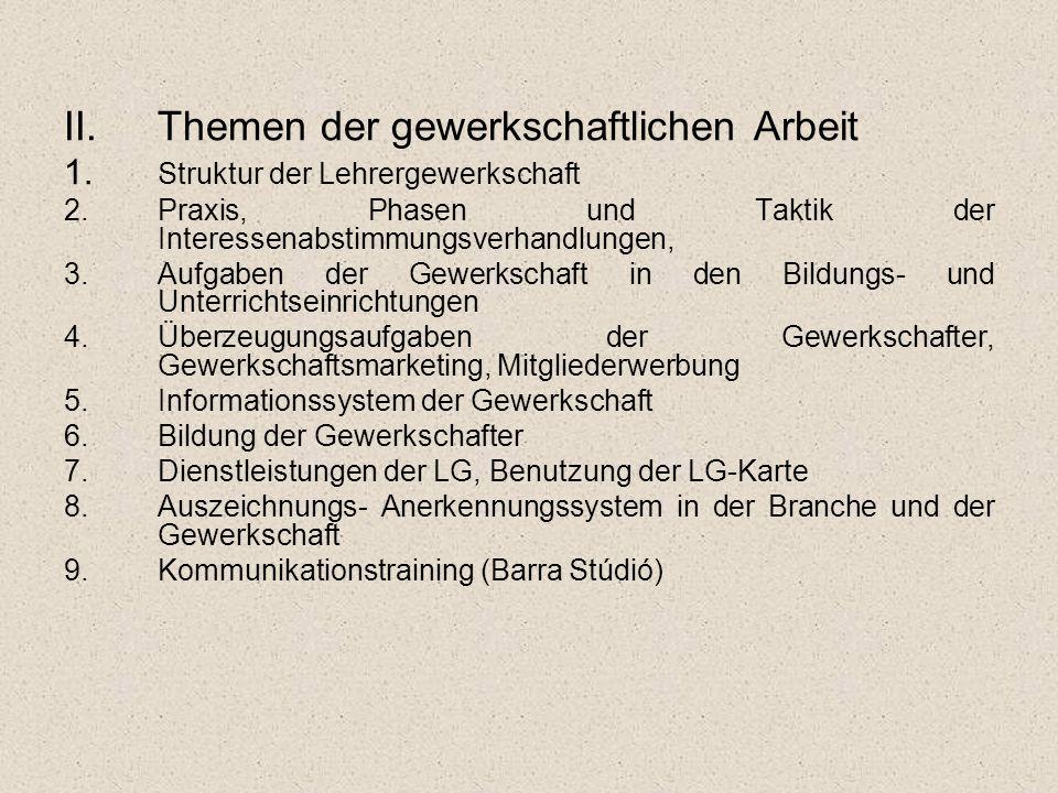 II.Themen der gewerkschaftlichen Arbeit 1. Struktur der Lehrergewerkschaft 2.Praxis, Phasen und Taktik der Interessenabstimmungsverhandlungen, 3.Aufga