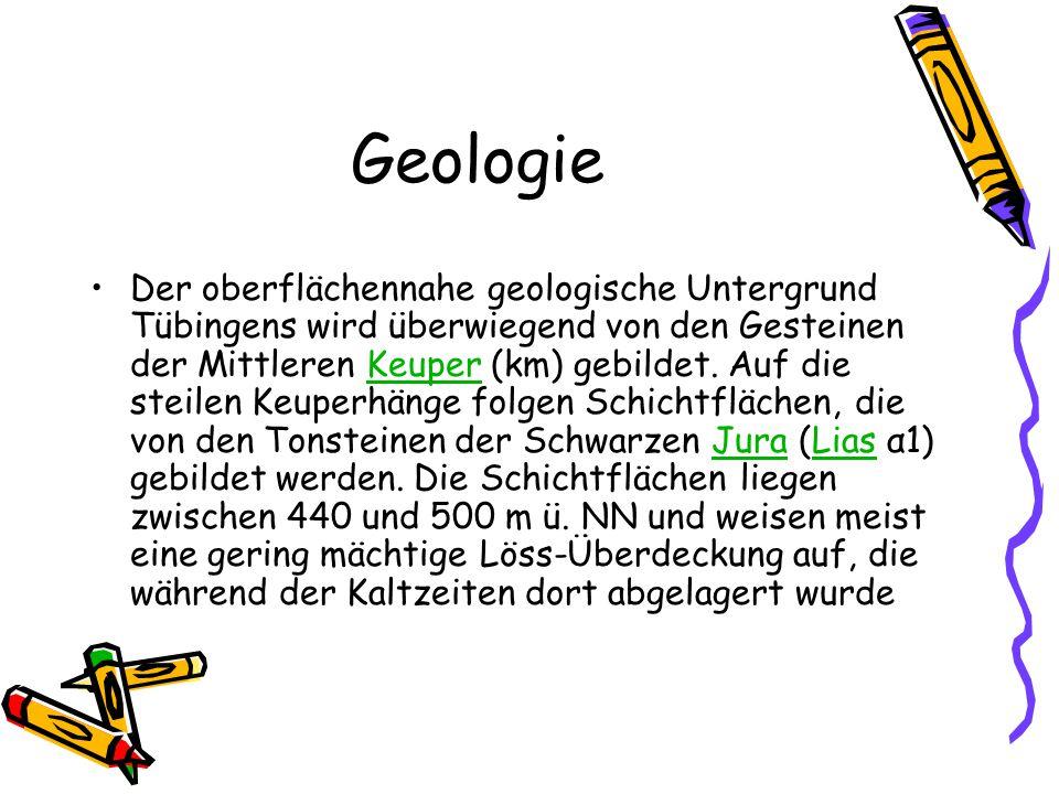 Der oberflächennahe geologische Untergrund Tübingens wird überwiegend von den Gesteinen der Mittleren Keuper (km) gebildet. Auf die steilen Keuperhäng