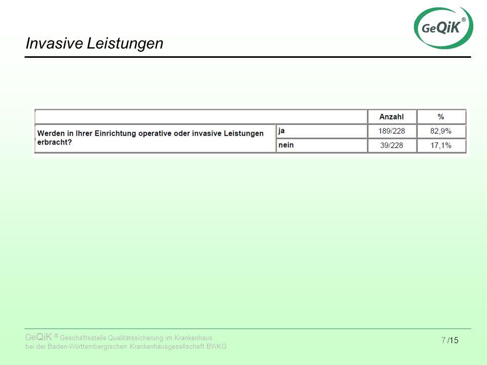 7/15 Ge QiK ® Geschäftsstelle Qualitätssicherung im Krankenhaus bei der Baden-Württembergischen Krankenhausgesellschaft BWKG Invasive Leistungen