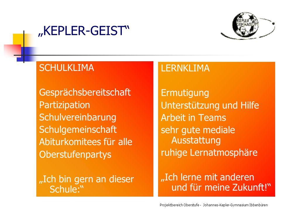 """Projektbereich Oberstufe - Johannes-Kepler-Gymnasium Ibbenbüren """"KEPLER-GEIST"""" SCHULKLIMA Gesprächsbereitschaft Partizipation Schulvereinbarung Schulg"""