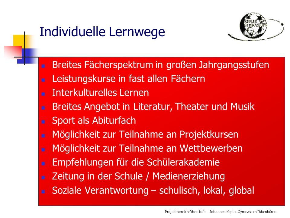 Projektbereich Oberstufe - Johannes-Kepler-Gymnasium Ibbenbüren Individuelle Lernwege Breites Fächerspektrum in großen Jahrgangsstufen Leistungskurse