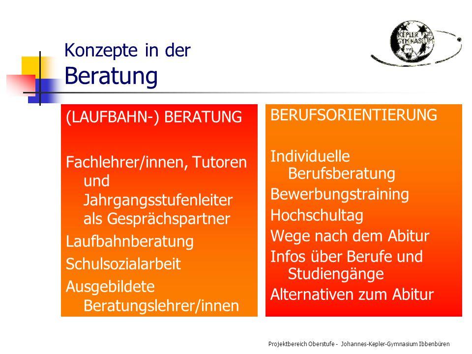 Projektbereich Oberstufe - Johannes-Kepler-Gymnasium Ibbenbüren Konzepte in der Beratung (LAUFBAHN-) BERATUNG Fachlehrer/innen, Tutoren und Jahrgangss