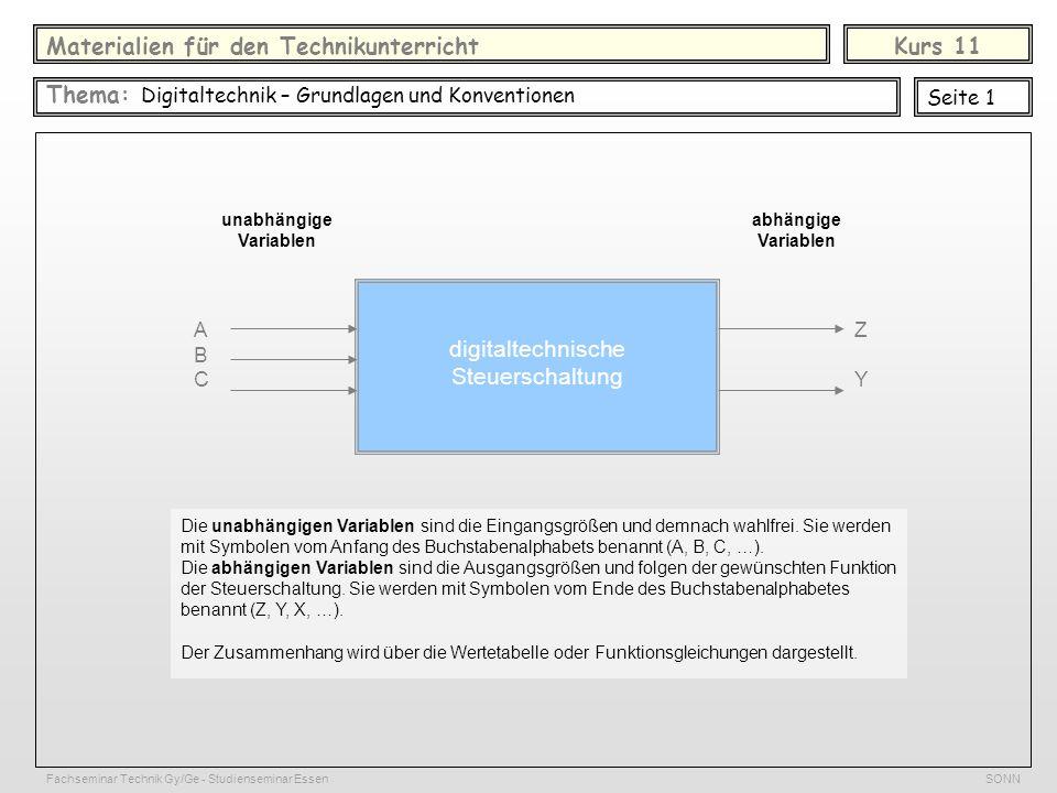 Materialien für den TechnikunterrichtKurs 11 Thema: Digitaltechnik – Grundlagen und Konventionen Seite 1 unabhängige Variablen digitaltechnische Steue