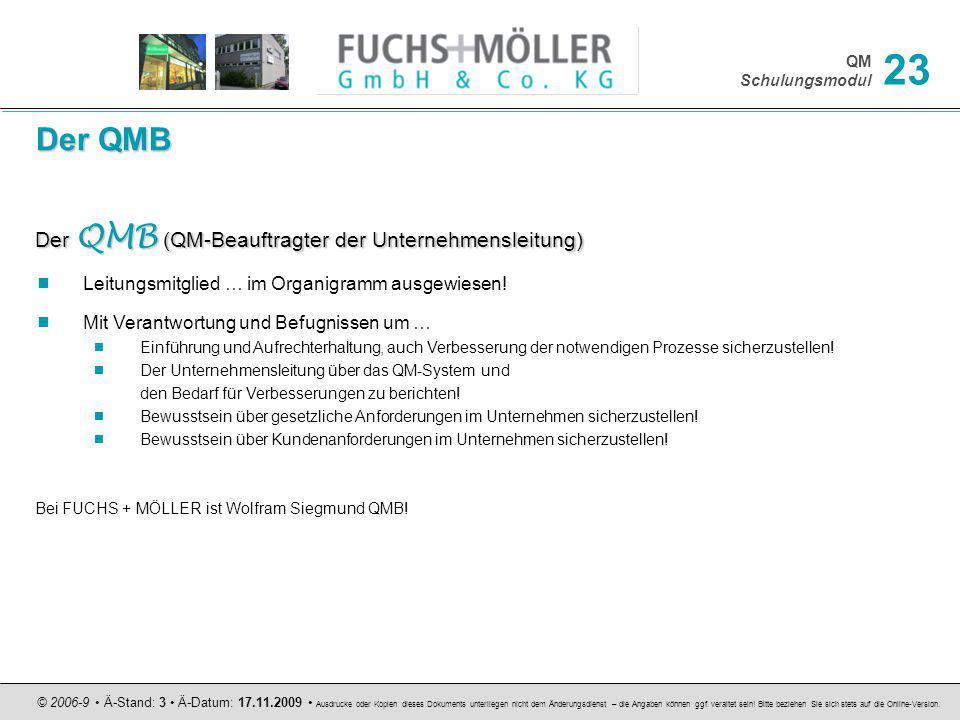 QM Schulungsmodul © 2006-9 Ä-Stand: 3 Ä-Datum: 17.11.2009 Ausdrucke oder Kopien dieses Dokuments unterliegen nicht dem Änderungsdienst – die Angaben k