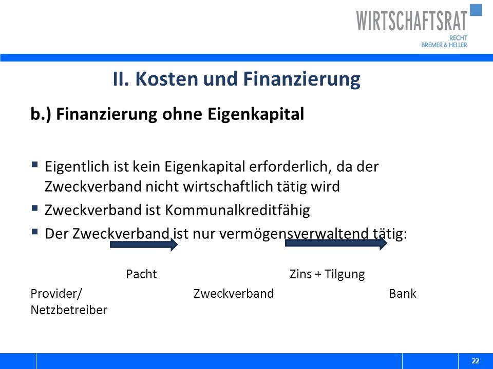 II. Kosten und Finanzierung b.) Finanzierung ohne Eigenkapital  Eigentlich ist kein Eigenkapital erforderlich, da der Zweckverband nicht wirtschaftli