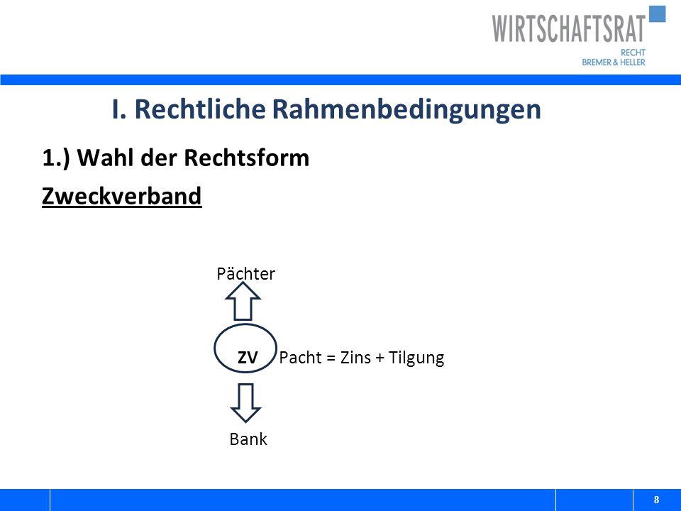 I. Rechtliche Rahmenbedingungen 1.) Wahl der Rechtsform Zweckverband Pächter ZV Pacht = Zins + Tilgung Bank 8