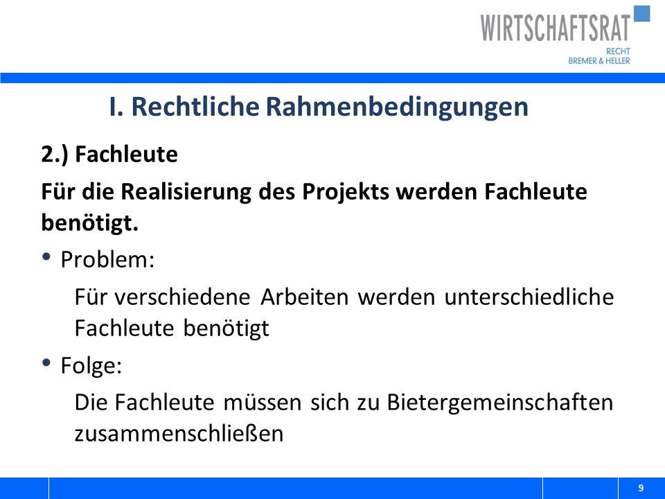 I. Rechtliche Rahmenbedingungen 2.) Fachleute Für die Realisierung des Projekts werden Fachleute benötigt. Problem: Für verschiedene Arbeiten werden u