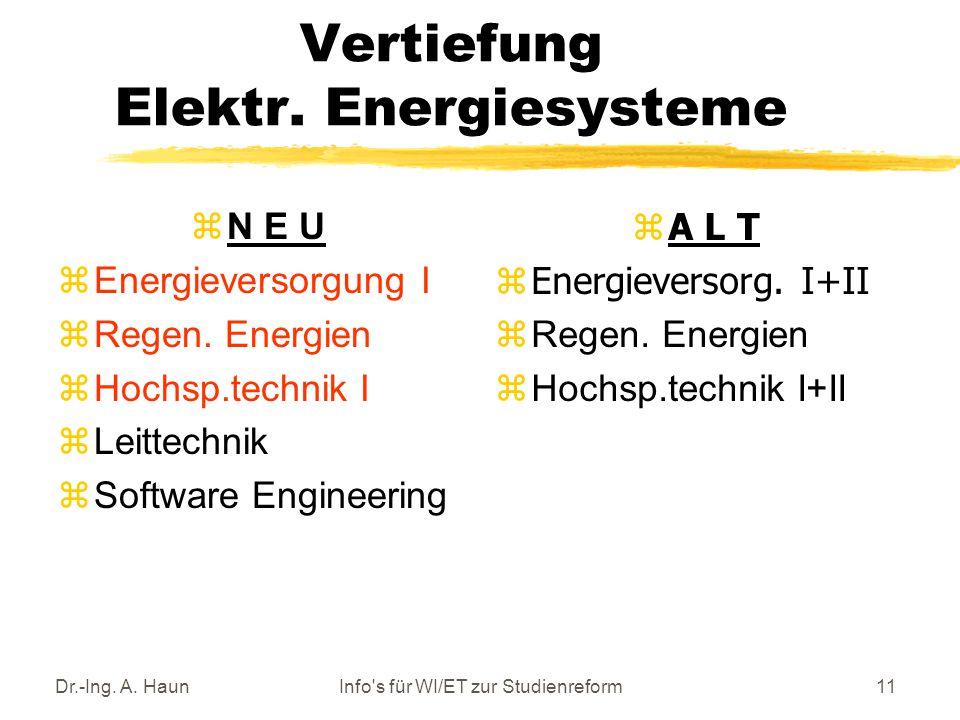 Dr.-Ing. A. HaunInfo s für WI/ET zur Studienreform11 Vertiefung Elektr.