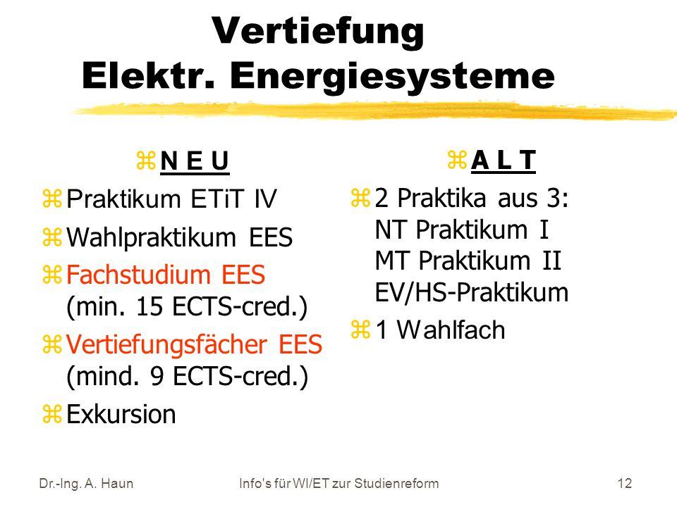 Dr.-Ing. A. HaunInfo s für WI/ET zur Studienreform12 Vertiefung Elektr.