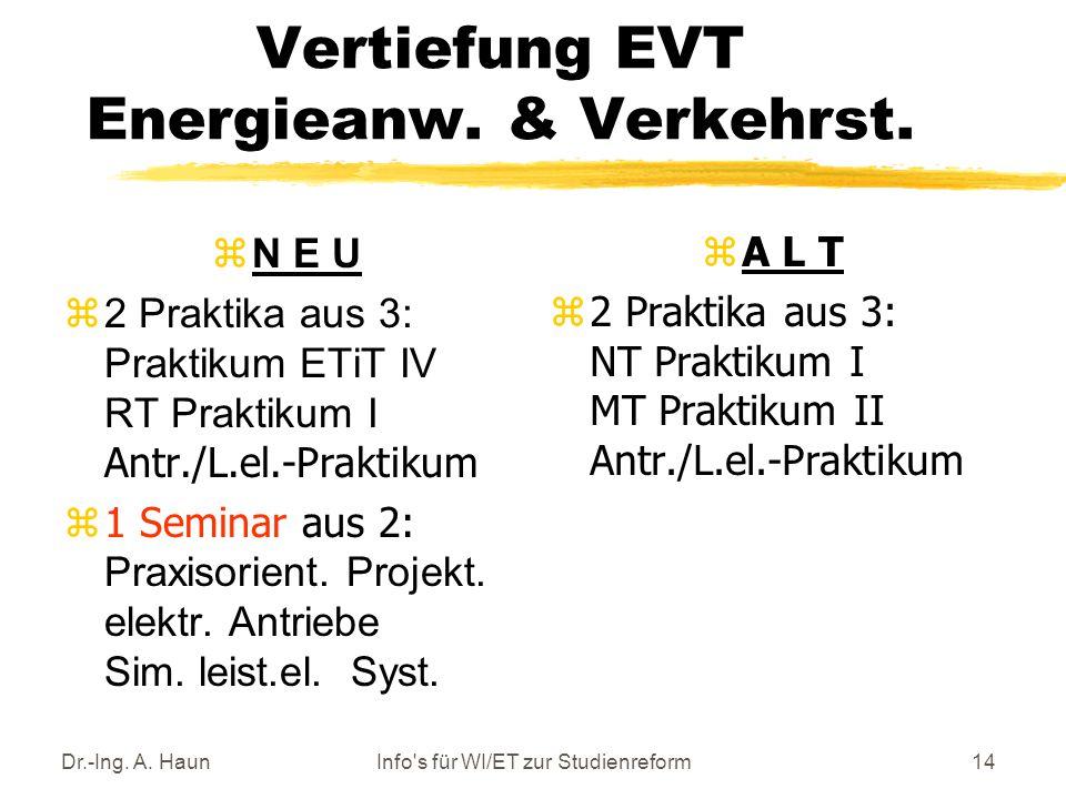 Dr.-Ing. A. HaunInfo s für WI/ET zur Studienreform14 Vertiefung EVT Energieanw.