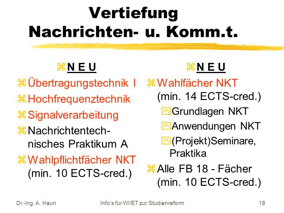 Dr.-Ing. A. HaunInfo s für WI/ET zur Studienreform18 Vertiefung Nachrichten- u.