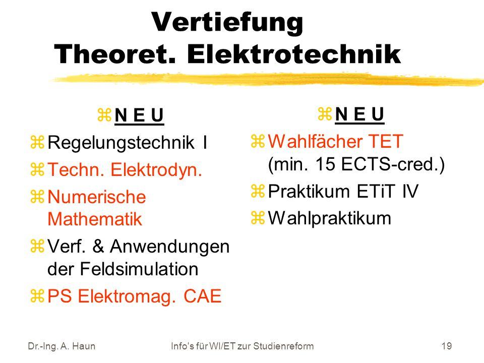 Dr.-Ing. A. HaunInfo s für WI/ET zur Studienreform19 Vertiefung Theoret.