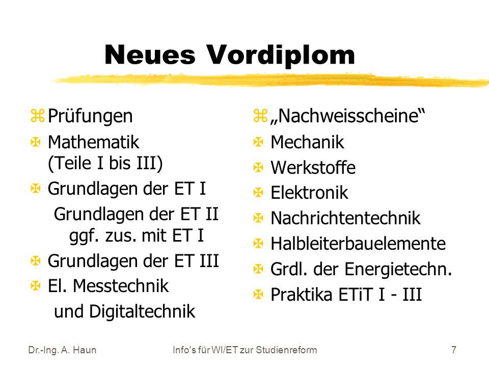 Dr.-Ing.A. HaunInfo s für WI/ET zur Studienreform18 Vertiefung Nachrichten- u.