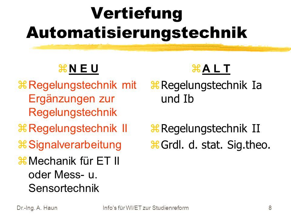 Dr.-Ing.A. HaunInfo s für WI/ET zur Studienreform19 Vertiefung Theoret.