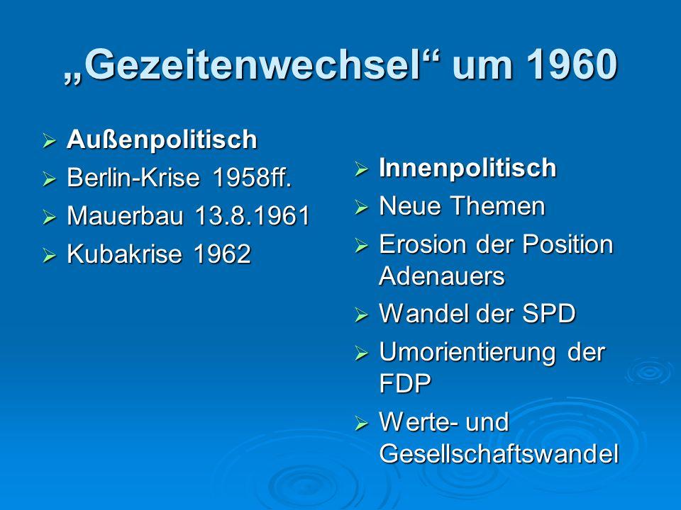 """""""Gezeitenwechsel"""" um 1960  Außenpolitisch  Berlin-Krise 1958ff.  Mauerbau 13.8.1961  Kubakrise 1962  Innenpolitisch  Neue Themen  Erosion der P"""