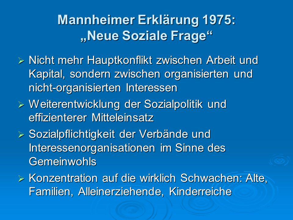 """Mannheimer Erklärung 1975: """"Neue Soziale Frage""""  Nicht mehr Hauptkonflikt zwischen Arbeit und Kapital, sondern zwischen organisierten und nicht-organ"""