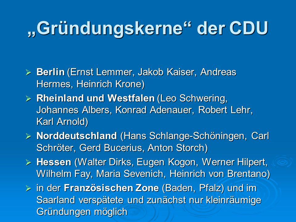 """""""Gründungskerne"""" der CDU  Berlin (Ernst Lemmer, Jakob Kaiser, Andreas Hermes, Heinrich Krone)  Rheinland und Westfalen (Leo Schwering, Johannes Albe"""