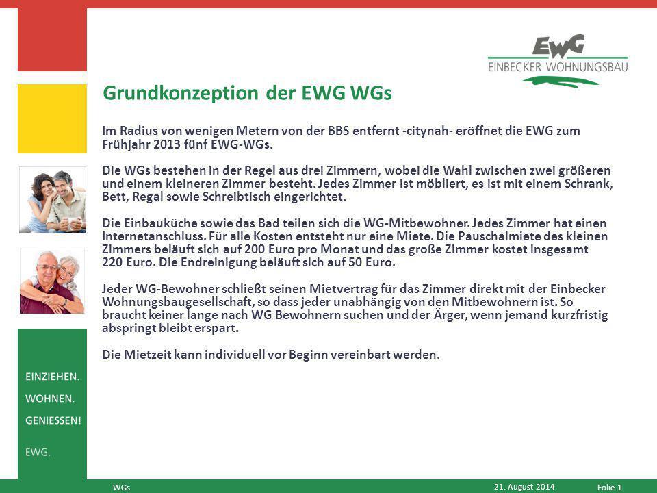 Folie 1 Im Radius von wenigen Metern von der BBS entfernt -citynah- eröffnet die EWG zum Frühjahr 2013 fünf EWG-WGs.