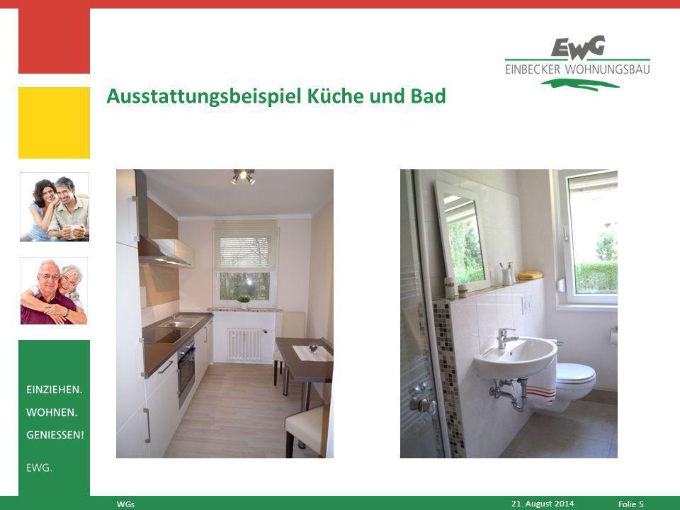Folie 5 21. August 2014 WGs Ausstattungsbeispiel Küche und Bad