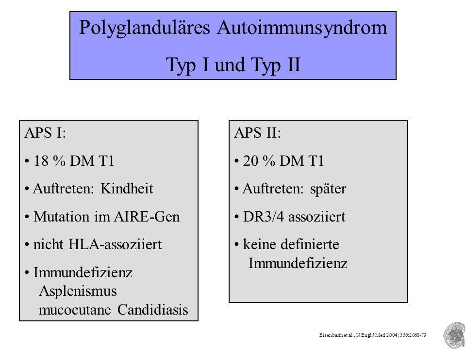 Polyglanduläres Autoimmunsyndrom Typ I und Typ II APS I: 18 % DM T1 Auftreten: Kindheit Mutation im AIRE-Gen nicht HLA-assoziiert Immundefizienz Asple