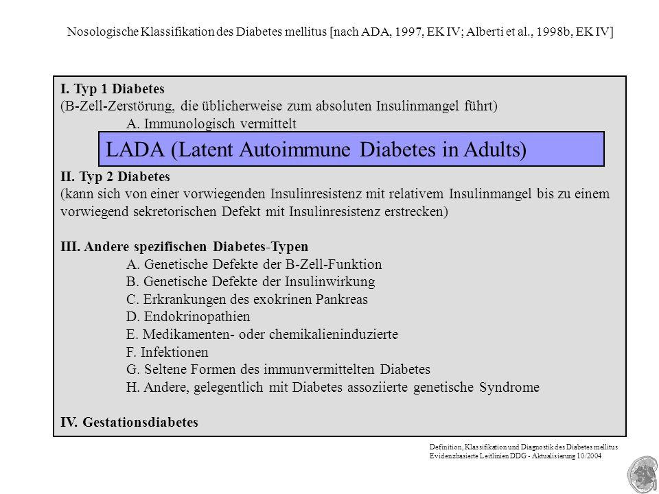 Nosologische Klassifikation des Diabetes mellitus [nach ADA, 1997, EK IV; Alberti et al., 1998b, EK IV] I. Typ 1 Diabetes (B-Zell-Zerstörung, die übli