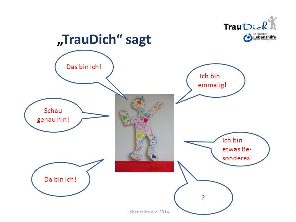 """""""TrauDich symbolisiert Werte Vertrauen! Akzeptanz Offenheit Toleranz Mut ? Lebenshilfe e.V. 2014"""