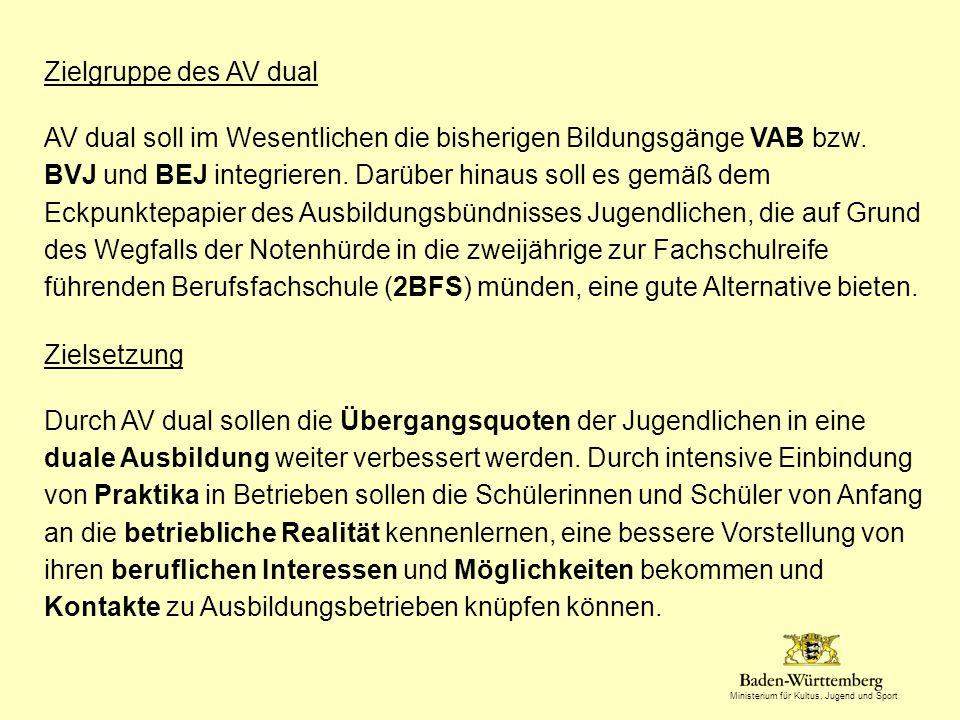 Ministerium für Kultus, Jugend und Sport Zielgruppe des AV dual AV dual soll im Wesentlichen die bisherigen Bildungsgänge VAB bzw.