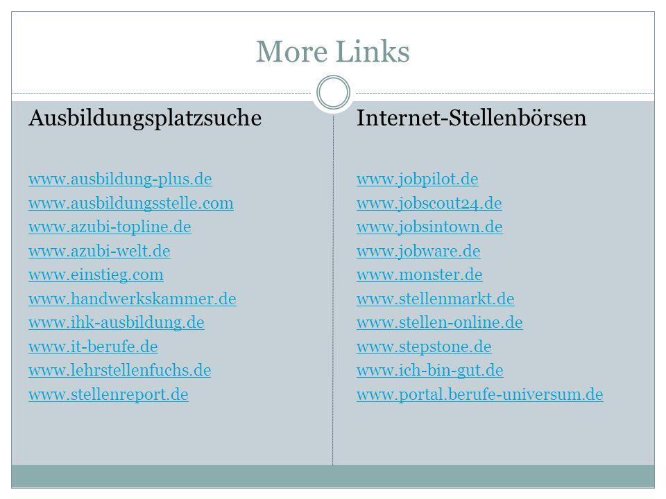 More Links Ausbildungsplatzsuche www.ausbildung-plus.de www.ausbildungsstelle.com www.azubi-topline.de www.azubi-welt.de www.einstieg.com www.handwerkskammer.de www.ihk-ausbildung.de www.it-berufe.de www.lehrstellenfuchs.de www.stellenreport.de Internet-Stellenbörsen www.jobpilot.de www.jobscout24.de www.jobsintown.de www.jobware.de www.monster.de www.stellenmarkt.de www.stellen-online.de www.stepstone.de www.ich-bin-gut.de www.portal.berufe-universum.de