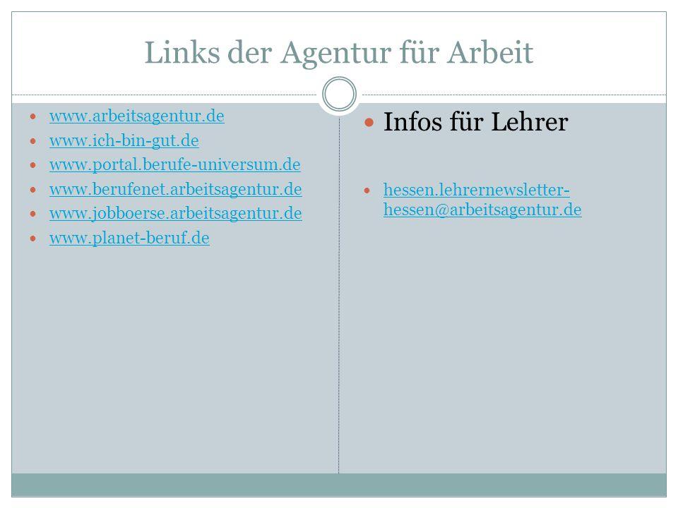 Links der Agentur für Arbeit www.arbeitsagentur.de www.ich-bin-gut.de www.portal.berufe-universum.de www.berufenet.arbeitsagentur.de www.jobboerse.arbeitsagentur.de www.planet-beruf.de Infos für Lehrer hessen.lehrernewsletter- hessen@arbeitsagentur.de hessen.lehrernewsletter- hessen@arbeitsagentur.de
