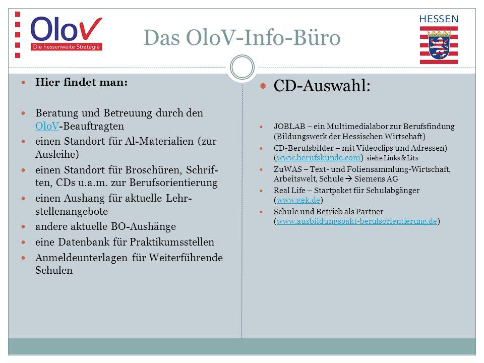 Das OloV-Info-Büro Hier findet man: Beratung und Betreuung durch den OloV-Beauftragten OloV einen Standort für Al-Materialien (zur Ausleihe) einen Standort für Broschüren, Schrif- ten, CDs u.a.m.