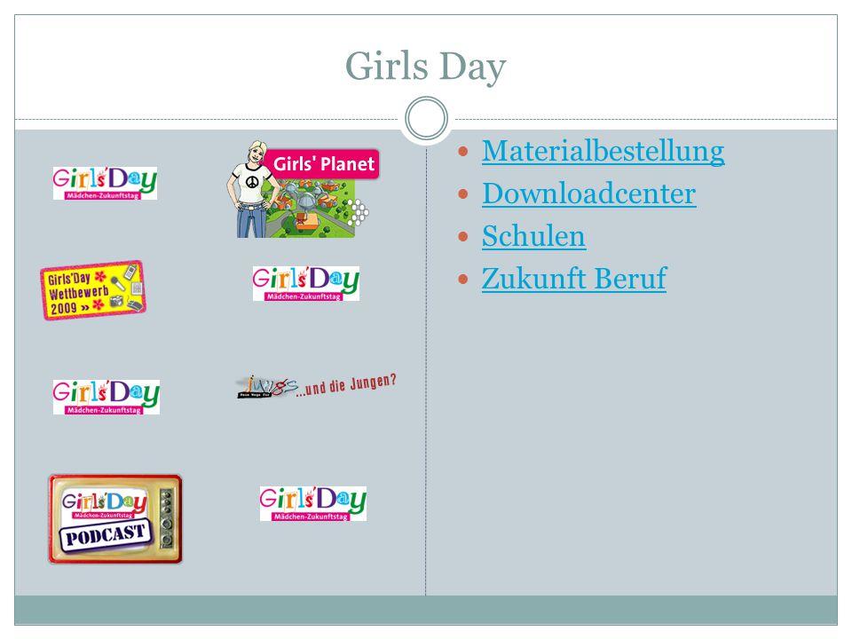 Girls Day Materialbestellung Downloadcenter Schulen Zukunft Beruf