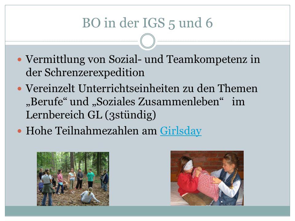 """BO in der IGS 5 und 6 Vermittlung von Sozial- und Teamkompetenz in der Schrenzerexpedition Vereinzelt Unterrichtseinheiten zu den Themen """"Berufe"""" und"""