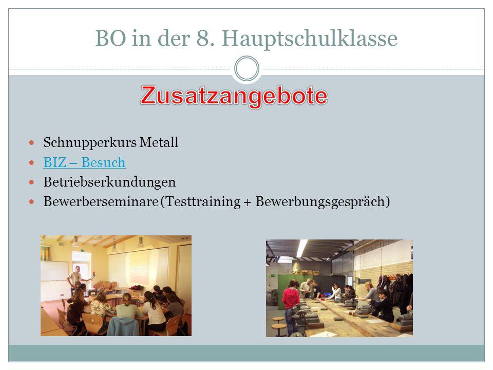 BO in der 8. Hauptschulklasse Schnupperkurs Metall BIZ – Besuch Betriebserkundungen Bewerberseminare (Testtraining + Bewerbungsgespräch)
