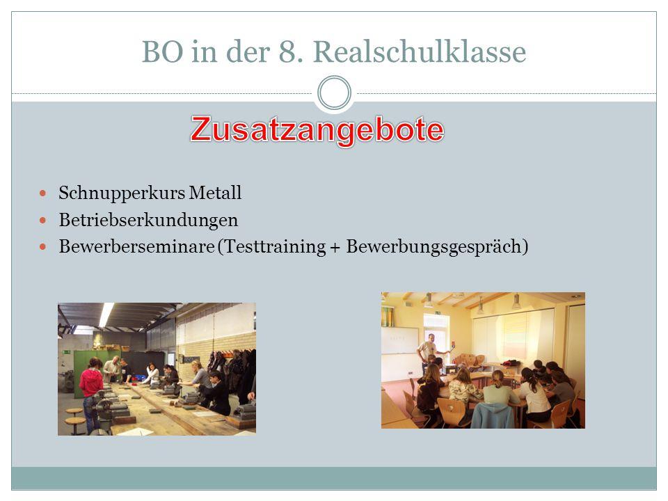 BO in der 8. Realschulklasse Schnupperkurs Metall Betriebserkundungen Bewerberseminare (Testtraining + Bewerbungsgespräch)