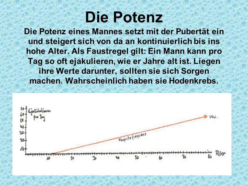 Die Potenz Die Potenz eines Mannes setzt mit der Pubertät ein und steigert sich von da an kontinuierlich bis ins hohe Alter. Als Faustregel gilt: Ein